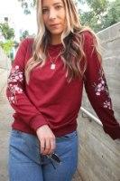 חולצת רוז רקמה אדום