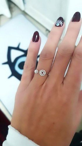 טבעת משובצת  נפתחת מכסף