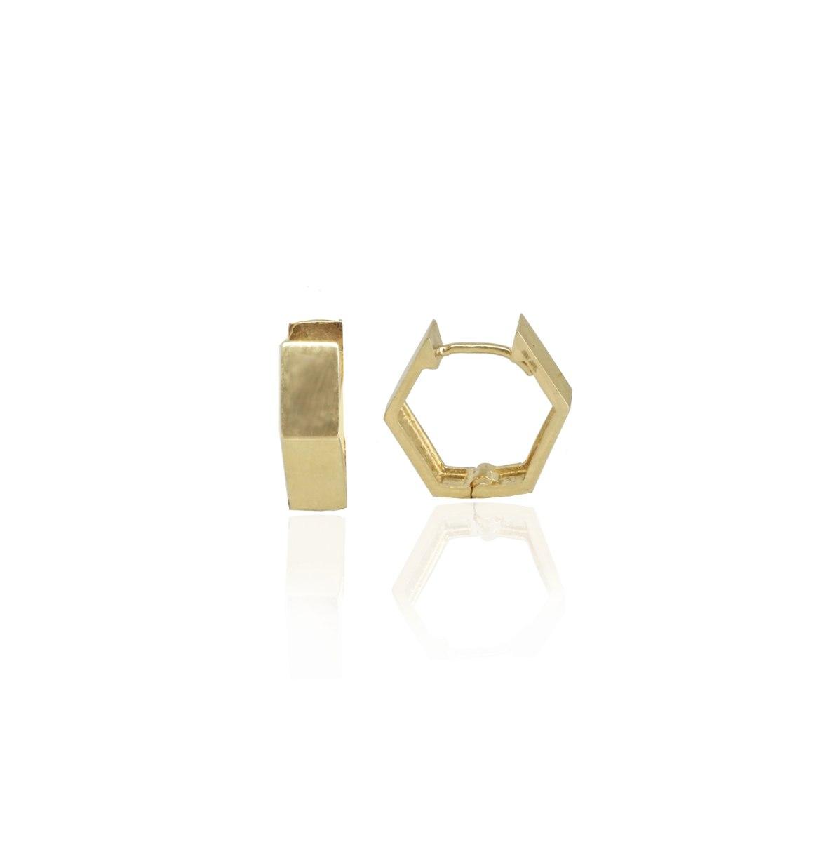 עגילי חישוק מחומש - קטנים - 1.3 סמ - 4.35 ממ רוחב - מזהב אמיתי 14 קאראט