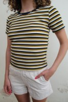 חולצת מונה פס חרדל שחור