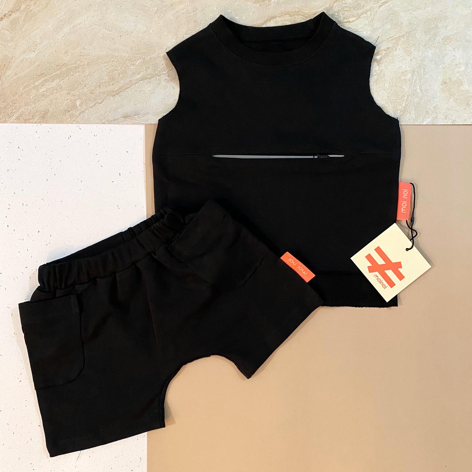 חליפה זיפר שחורה MOI NOI