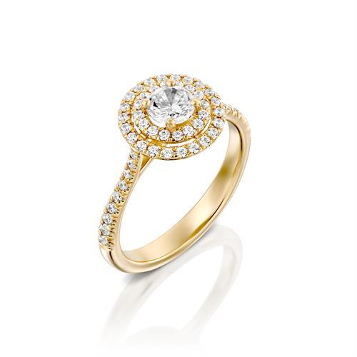 טבעת אירוסין זהב צהוב 14 קראט משובצת יהלומים DOUBLE HALOW