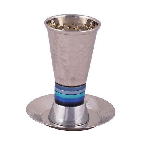 כוס קידוש - טבעות רחבות - כחול