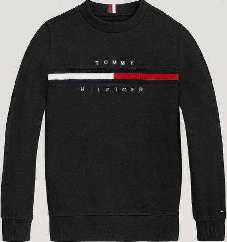 Tommy Hilfiger פוטר שחור לוגו אדום מידות 12 חודשים עד 16 שנים