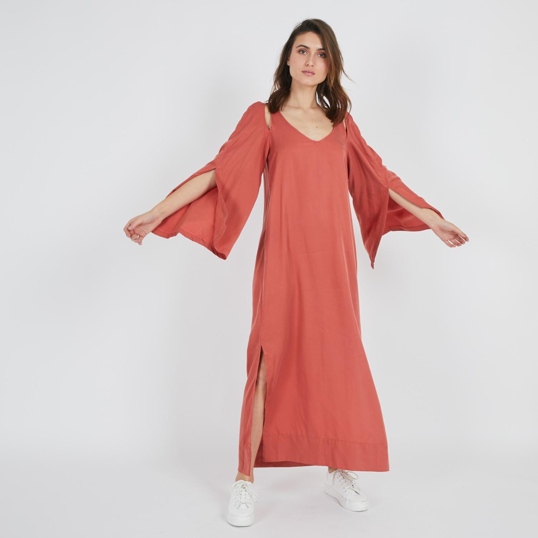 שמלת גלביה אדום-כתום