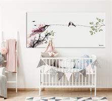 ציור ציפורים בחדר ילדים