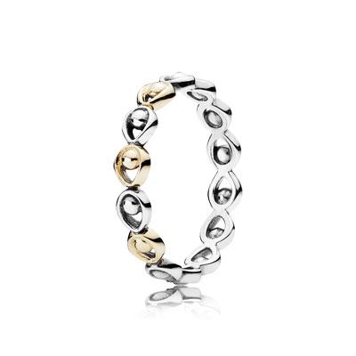 טבעת כסף וזהב פנדורה 190961