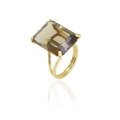 טבעת מרהיבה עם אבן סמוק טופז גדולה טבעית