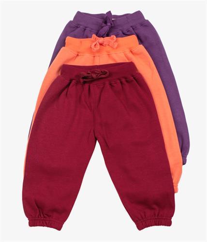 שלישיית מכנסי פוטר גומי סגול-כתום-בורדו