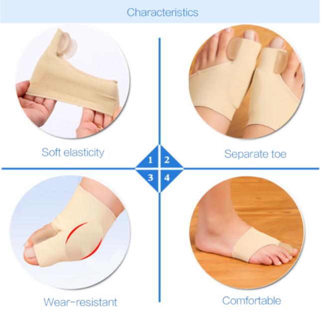 זוג גרביים ליישור עצם בולטת בכף הרגל, עצם פטישית