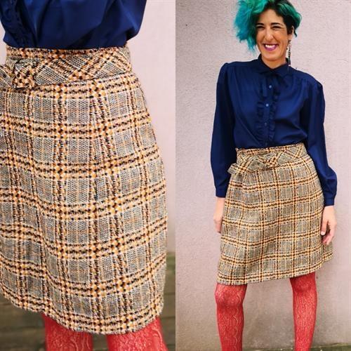 חצאית צמרירית משובצת מידה L/XL