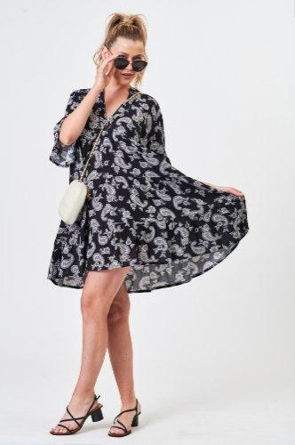 שמלת וולן ללי שחור לבן