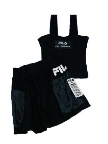 חליפת חצאית FILA ריב שחור 6-16