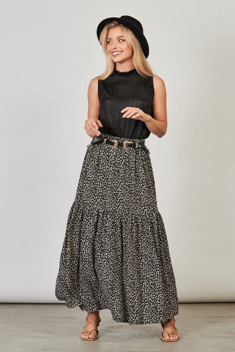 חצאית אשלי לערב מנוחש שחור
