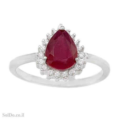 טבעת מכסף משובצת אבן רובי אדומה ואבני זרקון קטנות  RG6233 | תכשיטי כסף 925 | טבעות כסף