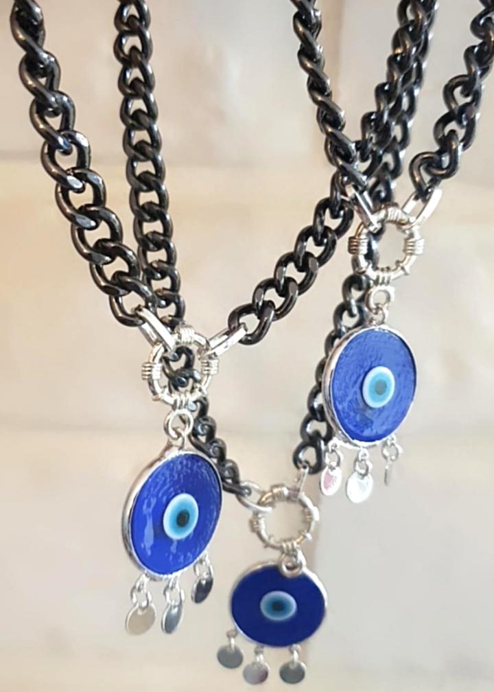 שרשרת גורמט עם תליון עין כחול