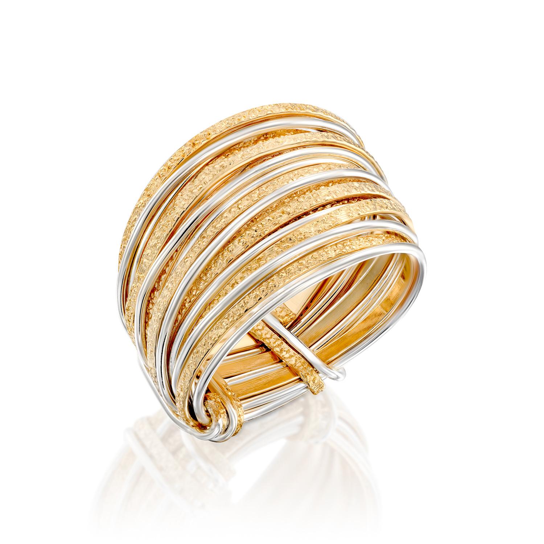 טבעת ספירלי חול לבן צהוב