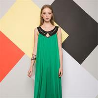 שמלת לילה ירוקה בשילוב דמויי עור לייזר קאט