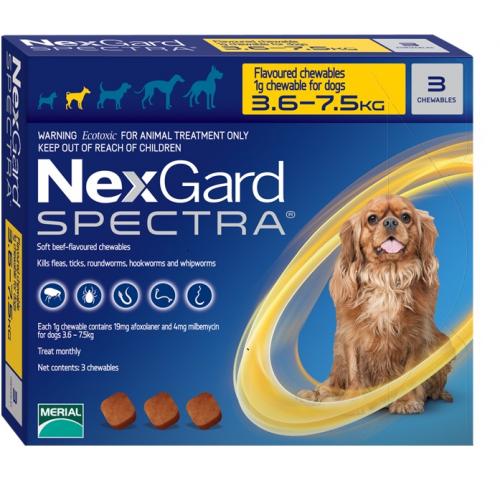 "NexGard Spectra חבילת 3 כדורים בטעם עוף נגד פרעושים וקרציות לכלבים במשקל 3.5-7.5 ק""ג"