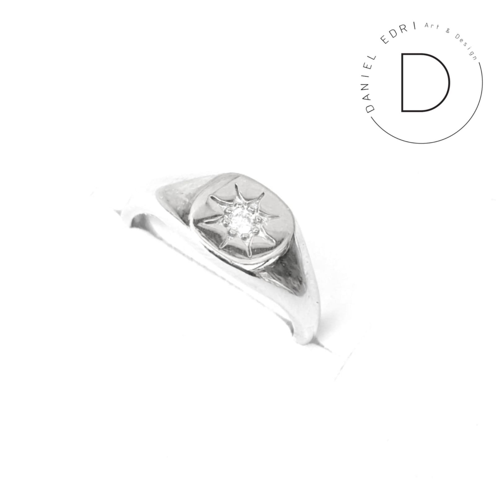 טבעת חותם כוכב כסף 925