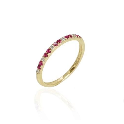 טבעת מידי טבעת משובצת יהלומים ורובי