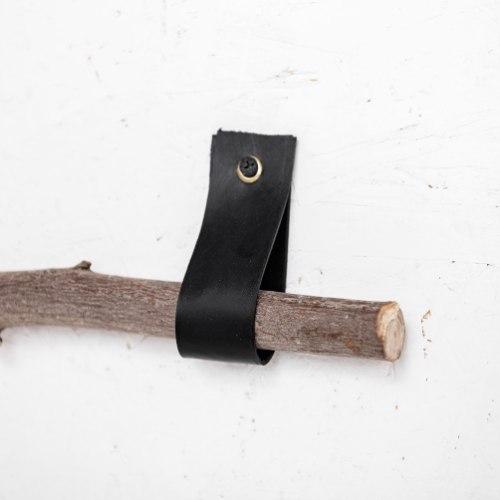 זוג רצועות עור לתליית הענף - אורך קצר. צבע שחור