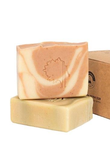 זוג סבונים  טבעיים (True Soap) בעבודת יד - לפנים ולגוף | ארוז כצמד