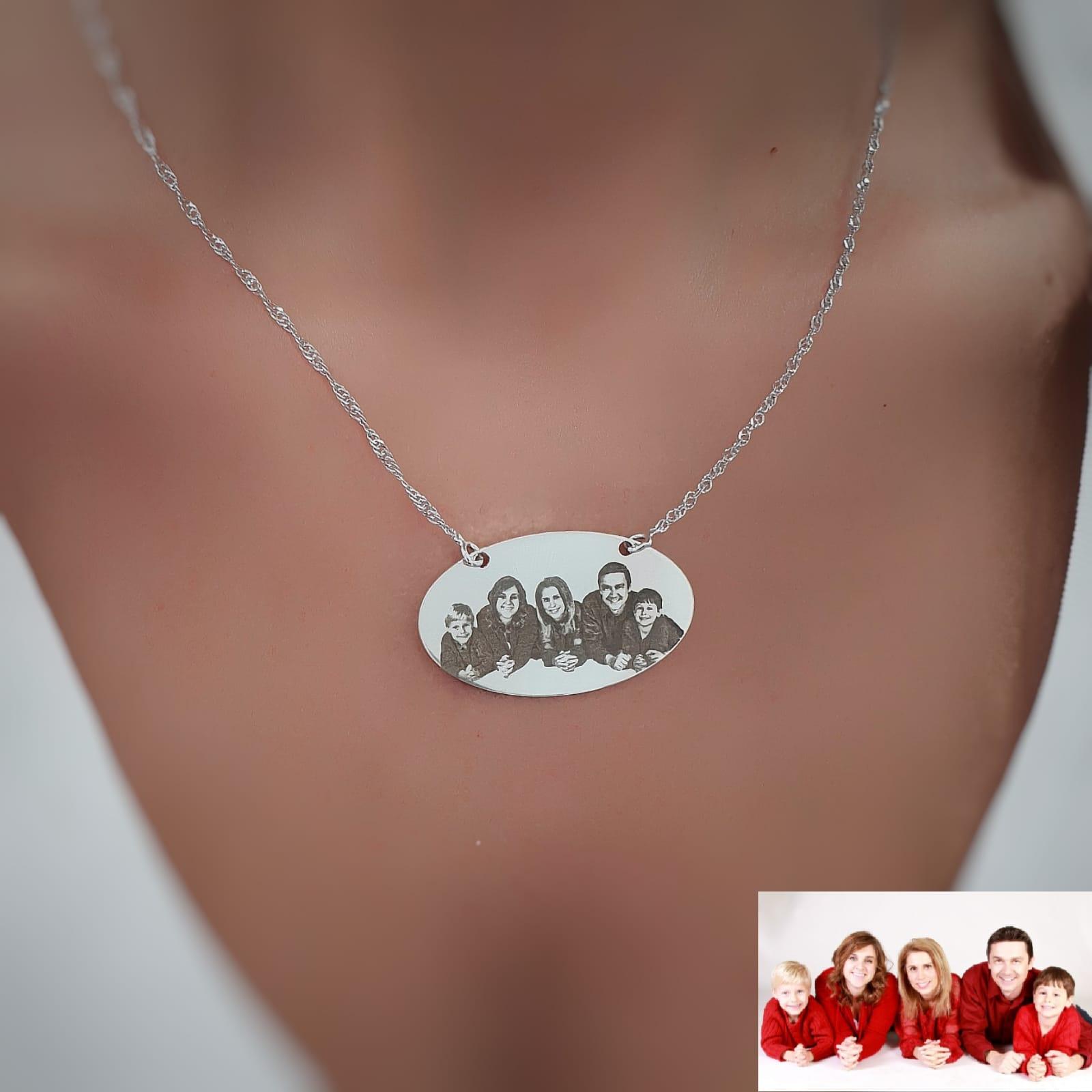 שרשרת אליפסה גולדפילד / כסף 925 חריטת תמונה