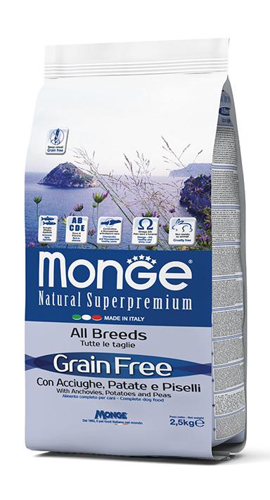 """מונג' 12 ק""""ג Grain Free with Anchovies, Potatoes and Peas – All Breeds"""