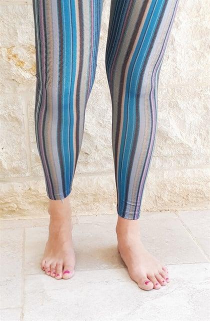 טייץ כותנה פסים בצבעי כחול ארוך