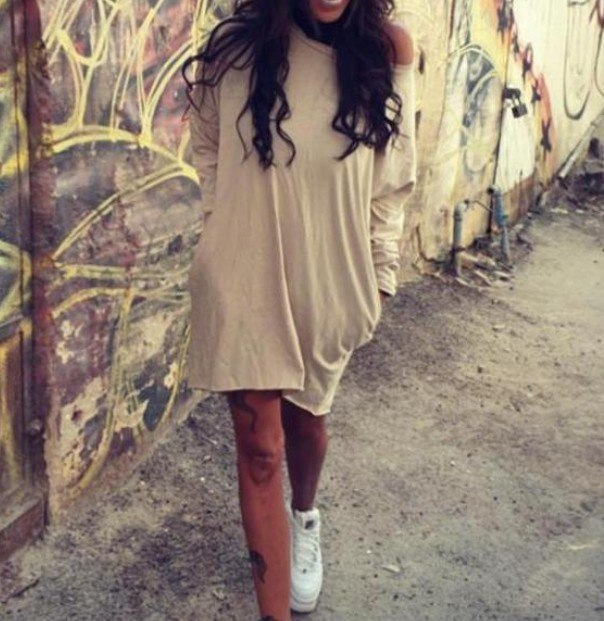 שמלה שילוב כיסים שרוול ארוך