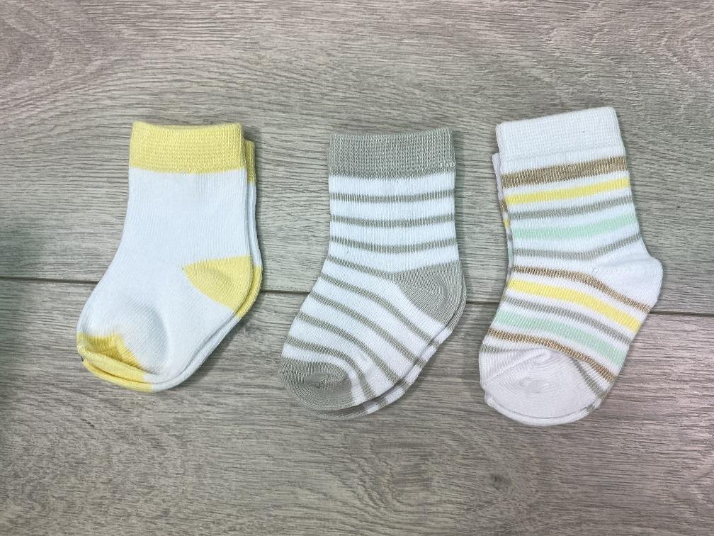 סט שלישיית גרביים פסים וחלק צבעוני