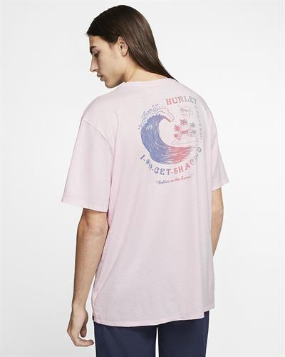 HURLEY GET SHACKED  T-SHIRT- PINK FOAM