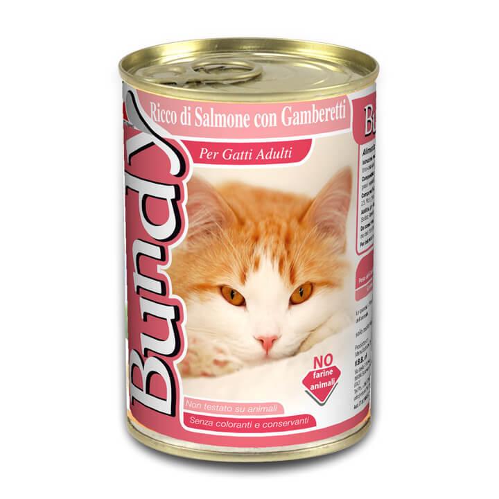 שימורים לחתול בנדי (Bundy) - פטה סלמון ושרימפס 400 גרם