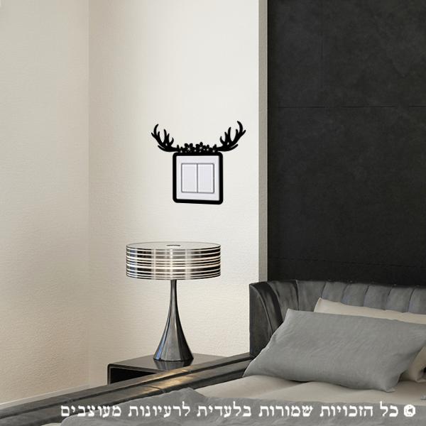 מדבקה לקיר | עיצוב צבי פרחוני למתג