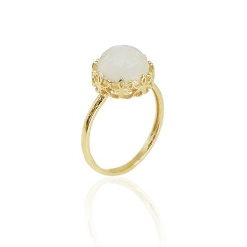 טבעת זהב וינטג' עם אבן מונסטון (אבן לבחירה)