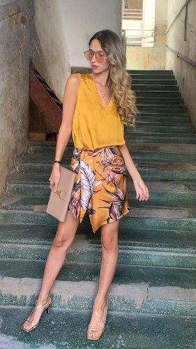 חצאית מעטפת מיני חרדל
