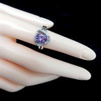 טבעת כסף משובצת אמטיסט סגול וזרקונים RG1514 | תכשיטי כסף 925 | טבעות כסף