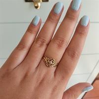 טבעת זהב בסגנון הארט-נובו עם יהלומים