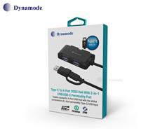 מפצל Dynamode לחיבור USB3.0 לחיבור 4 יציאות USB3.0 עם חיבור Type C