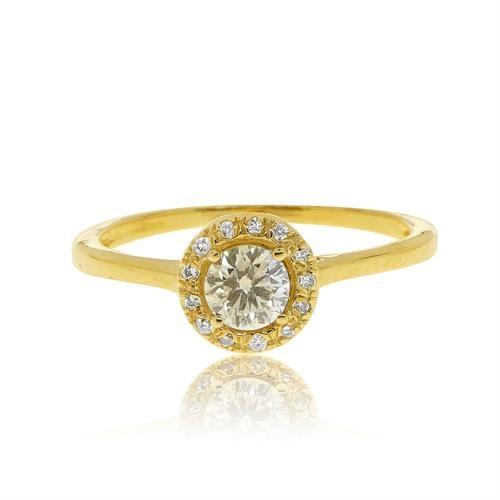 """טבעת """"האלו"""" זהב 14 קרט משובצת 0.57 קראט יהלומים"""