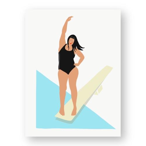 """אשה מתכוננת לקפיצה למים - מתוך """"החיים יפים"""", הסדרה האופטימית"""