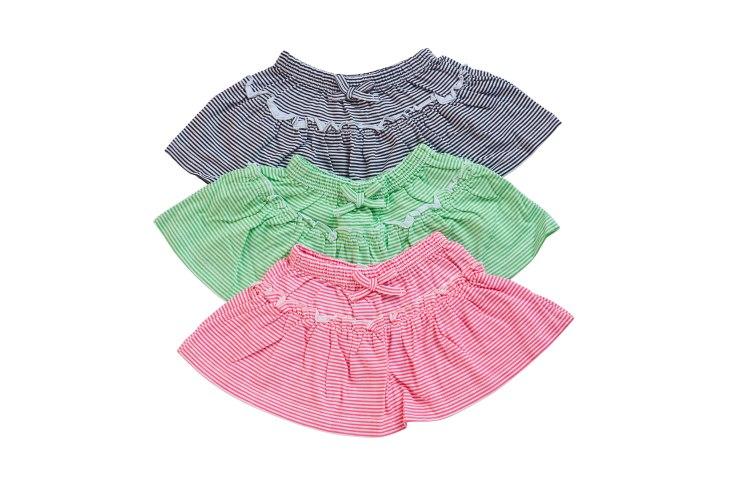 שלישיית חצאיות פסים שחור-ירוק-ורוד