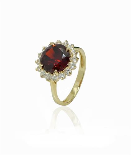 טבעת זהב 14K משובצת זרקונים ואבן גרנט