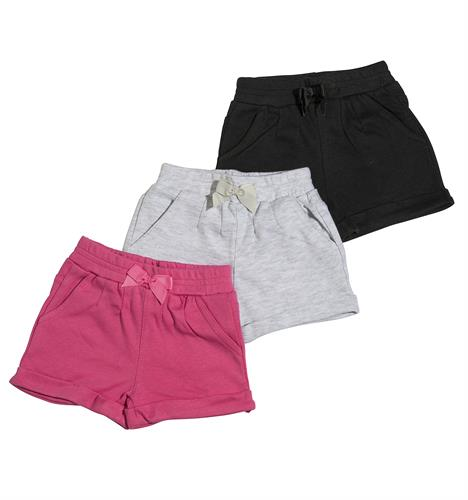 שלישיית מכנסיים 4452 שחור - אפור מלאנג' - פוקסיה