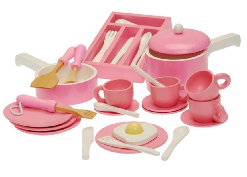 W10B236 - כלי מטבח ומסיבת תה מעץ מלא לילדים, צעצועץ