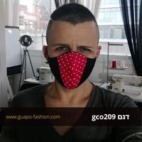 מסכת בד מעוצבת - שחור עם אדום נקודת