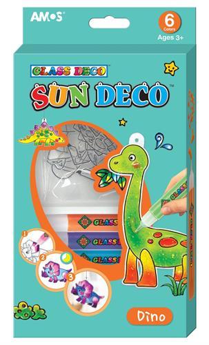 קיט צבעי חלון + צורות דינוזאורים AMOS