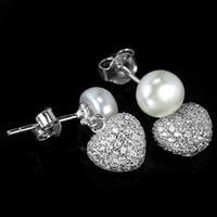סט עגילים ותליון לבבות מכסף משובצים פנינה לבנה וזרקונים S1493 | תכשיטי כסף 925 | תכשיטים לחתונה