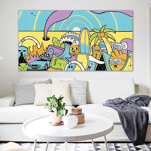 ציור פןפ ארט צבעוני לסלון של האמן כפיר תג'ר
